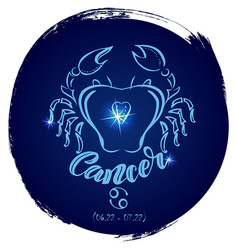 round zodiac sign cancer vector image