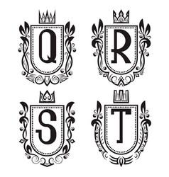Royal coat of arms set q r s t monogram vector
