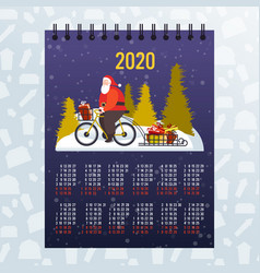 Santa claus riding bicycle with gift boxes on vector