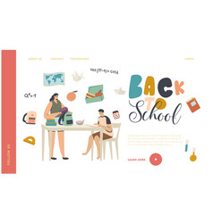 school preparation gaining knowledge landing page vector image