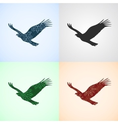 Set from Eagle with Mandala Patterns vector image