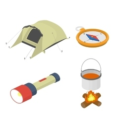 Set objects on tourism travel isometric vector