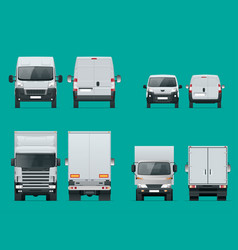 Set of cargo trucks front and rear view delivery vector