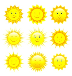 set smiling sun vector image