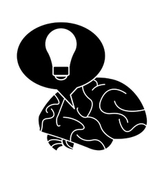 Silhouette brain thinking idea bubble vector