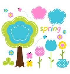 Spring colorful flowers and nature design elements vector image