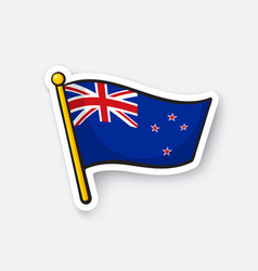 Sticker flag new zealand on flagstaff vector