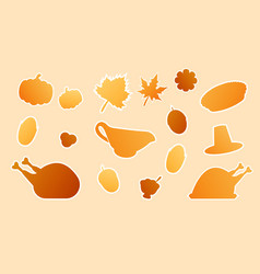 thanksgiving miscellaneous flat design paper style vector image