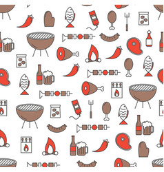 thin line art barbeque seamless pattern vector image