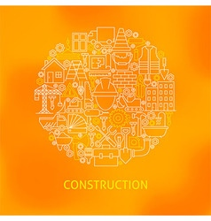 thin line construction icons set circle concept vector image