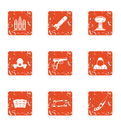 threat icons set grunge style vector image
