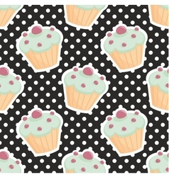 Tile pattern with cupcakes and polka dots on black vector image