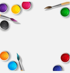 Tins with gouache acrylic paint collection set in vector