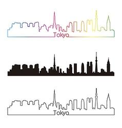 Tokyo skyline linear style with rainbow vector