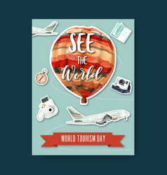 Tourism day poster design with sky airplane vector