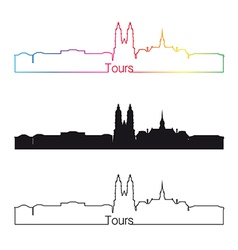 Tours skyline linear style with rainbow vector image