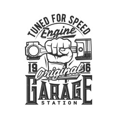 tshirt print with hand holding car engine valve vector image