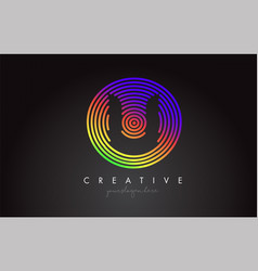 u letter logo design with colorful rainbow vector image