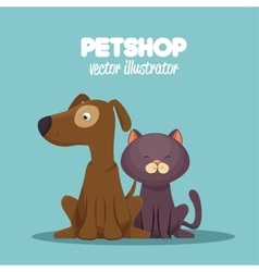 veterinary pet shop cat and dog sitting graphic vector image