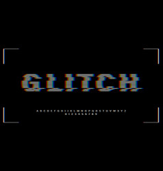 vhs glitch font in retro style english letters vector image