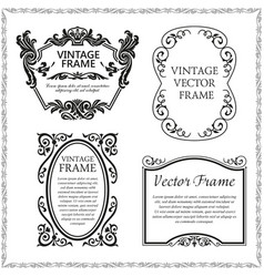 Vintage decorative frames set vector