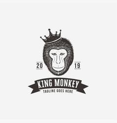 vintage hipster king monkey logo template vector image