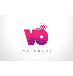 vo v o letter logo with pink purple color and vector image
