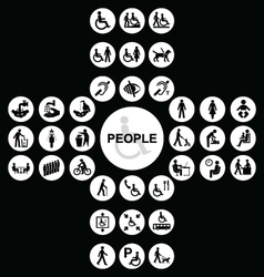 White cruciform disability and people Icons vector