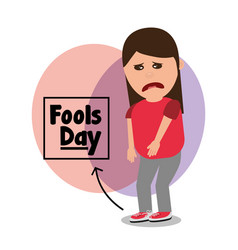 Woman sad with tied shoelaces joke fools day vector