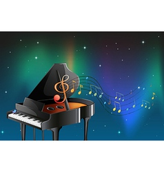 A black piano with musical notes vector image vector image