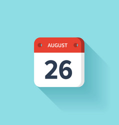 August 26 Isometric Calendar Icon With Shadow vector image vector image