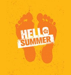 hello summer bright creative footprint sand beach vector image