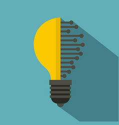 lightbulb with microcircuit icon flat style vector image vector image