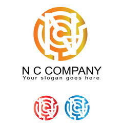 n and c inspired business logotype icon vector image vector image