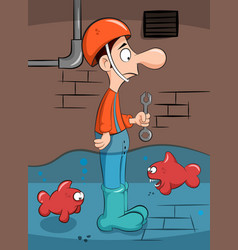 plumber solves the problem with fish vector image
