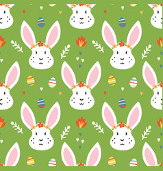 seamless pattern for easter with rabbit and eggs vector image