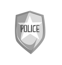 Silver police security badge cartoon vector