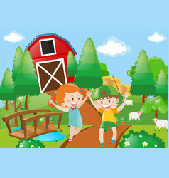 Boy and girl playing in the farmyard vector