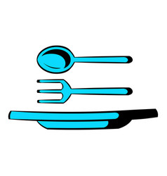 utensils icon cartoon vector image