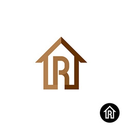 Letter R with house logo vector image