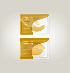Set of patches for lips and eyes with gold vector