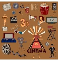 Colored hand drawn cinema icon set vector image