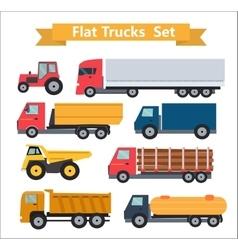 Flat trucks set vector