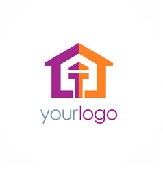 home colored logo vector image vector image