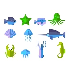 set of flat icons with aquatic animals vector image
