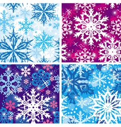 set of seamless snowflakes pattern vector image vector image