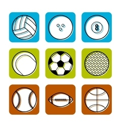 Sport balls on color background flat icons vector image vector image