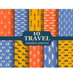 Ten travel seamless patterns vector image