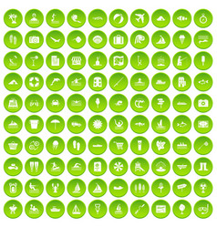 100 water icons set green circle vector