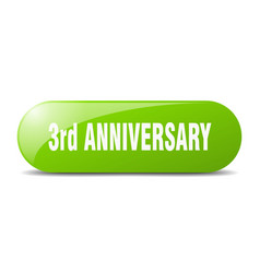 3rd anniversary button sticker banner rounded vector